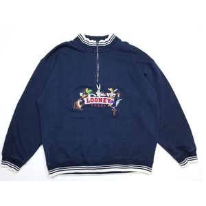 VTG Looney Tunes Embroidered Quater Zip Sweater